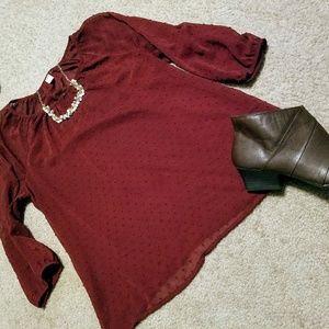Sheer 3/4 Sleeve Blouse